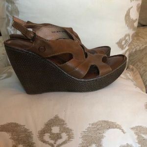 BORN Brand Brown Leather Wedges